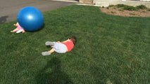 Brother Accidentally Hurts Younger Sister While Playing With Stability Ball