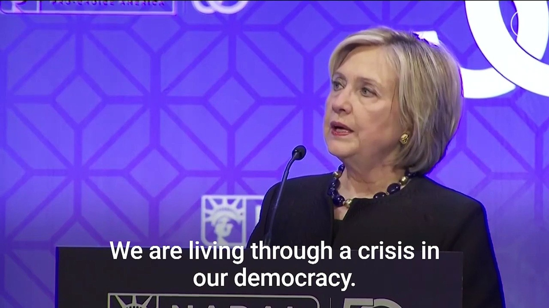 Hillary Clinton Says Trump Poses Danger to America's Democracy