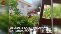 Şişli'de 5 katlı bir binanın çatı katında yangın çıktı
