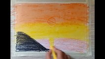 HOW TO DRAW EVENING VIEW WITH CRAYON COLOURS