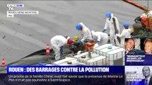 Rouen: un barrage a été installé sur la Seine pour repousser les nappes de pollution après l'incendie de l'usine Lubrizol