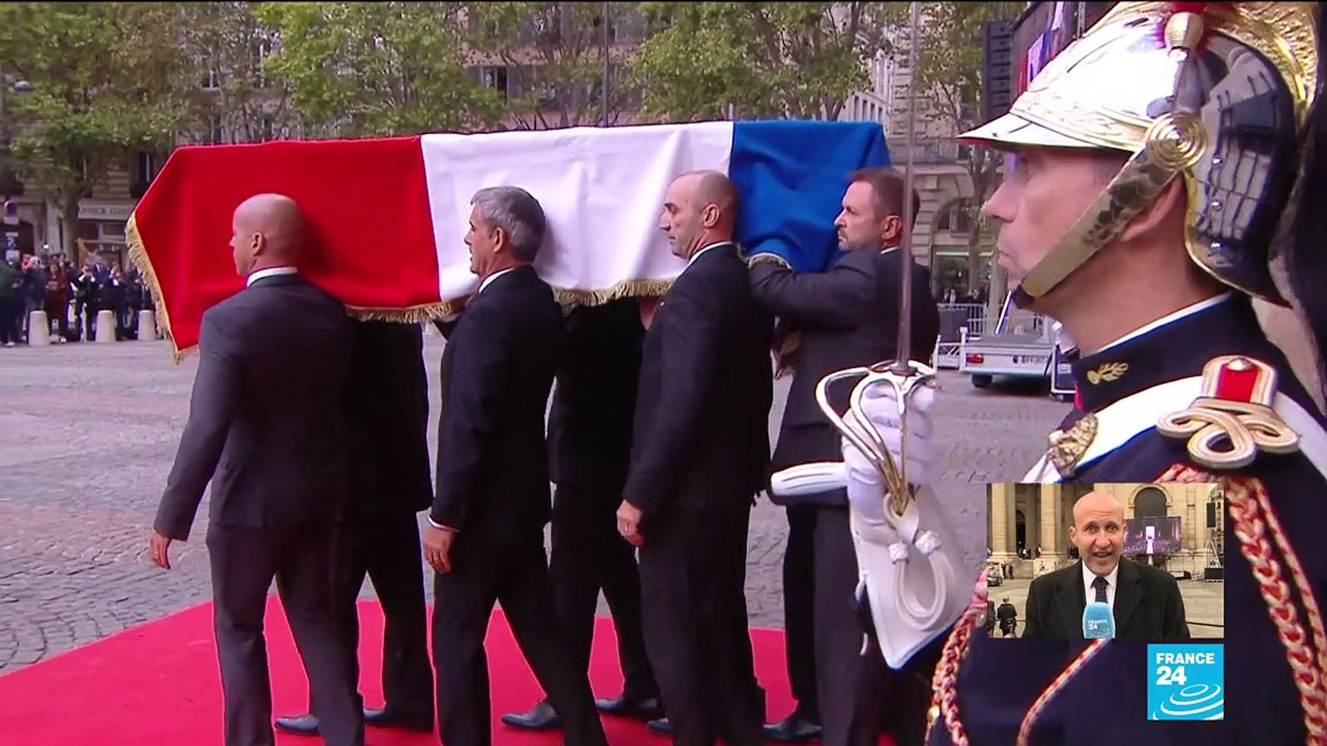 Jacques Chirac's coffin leaves the Saint-Sulpice church