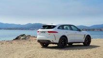 Jaguar F-Pace SVR Design in Fuji white in Southern France