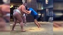 Tennis - Tokyo - Novak Djokovic Goes Sumo Wrestling