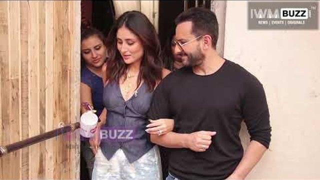 Cute couple Kareena Kapoor Khan and Saif Ali Khan spotted stepping out of Mehboob studios