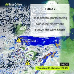 Met Office weather forecast for Tuesday October 1, 2019