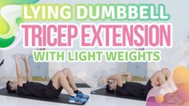 Lying dumbbell tricep extension with light weights - Step to Health