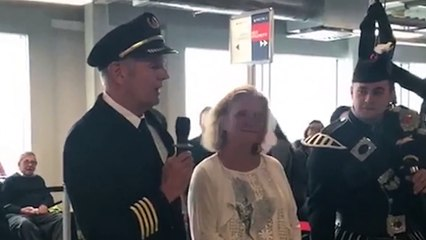 Edinburgh Airport gives retiring pilota 'final salute'