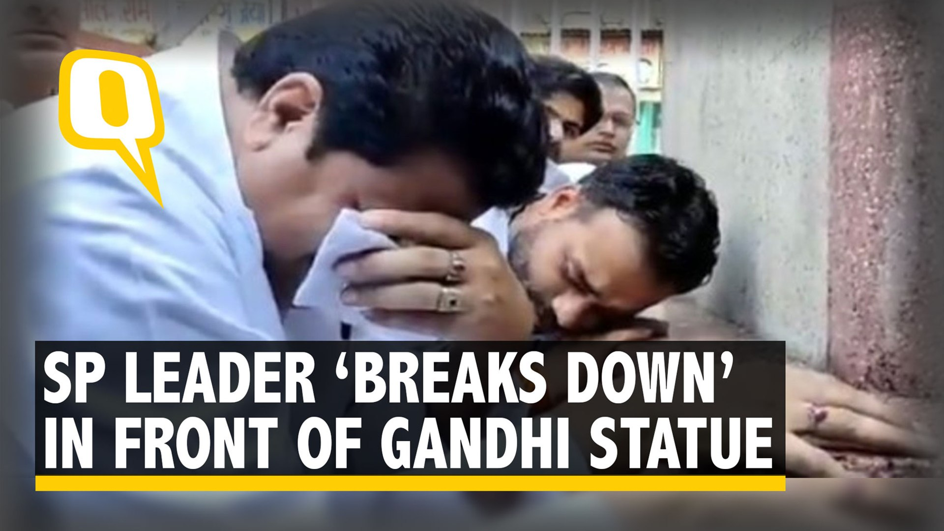 SP Leader Trolled For 'Crying' in Front of Gandhi Statue in Sambhal, UP