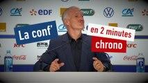 La conf' de presse de Didier Deschamps en 2 minutes chrono - Foot - Bleus