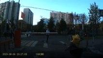 Cyclist Taken Down by Barrier Pole