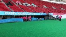 Mondial de rugby : les Bleus à l'entraînement au Kumamoto Stadium
