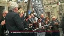 Ce midi, en Correze, Claude Chirac craque à la fin de son discours pendant l'hommage de la population à son père