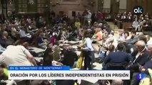 Quim Torra en una vigilia por los políticos presos en la abadía de Montserrat
