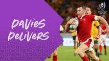 Amazing interception try from Gareth Davies v Australia
