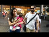 SPOTTED: Shahid Kapoor and Mira Rajput with Baby Misha at the Airport   SpotboyE