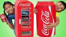 Wendy & Liam Pretend Play w Giant Coca Cola Vending Machine & Kid Refrigerator Toy