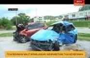 Tiga beranak maut kemalangan membabitkan tiga kenderaan