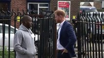 Prince Harry meets young people at charity recording studio