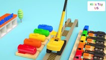 Learn colors with excavator Truck Soccer ball kids