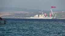 Çanakkale abd savaş gemisi, çanakkale boğazı'ndan geçti