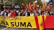 Barcelona se llena de banderas de España por una manifestación por la unidad en el 12-O