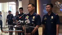 Philippine National Police Officer-in-charge Lieutenant General Archie Francisco Gamboa addresses the 190,000-strong police force after their chief resigned early morning on Monday