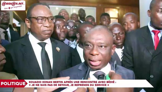 Kouadio Konan Bertin après une rencontre avec le président Bédié : «Je ne suis pas de retour, je reprends du service»