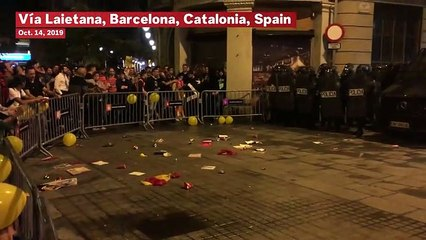 Watch: Riot Police Clash With Protesters After Catalan Separatist Leaders Sentenced To Prison