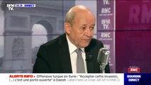 """Jean-Yves Le Drian: """"À l'heure actuelle"""", les camps dans lesquels sont prisonniers des jihadistes sont toujours tenus par les kurdes"""