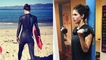 Alexandra Daddario gym workout - hot