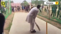 Rahul Gandhi Tries His Hand as a Batsman in Haryana's Rewari