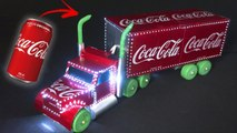AMAZING COCA COLA CHRISTMAS TRUCK MADE WITH ALUMINUM CANS AND LEDS