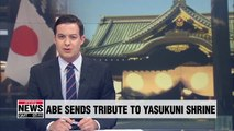 Japanese PM Abe sends tribute to controversial Yasukuni shrine