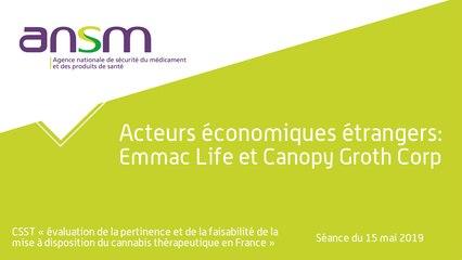 Acteurs économiques étrangers: Emmac Life et Canopy Groth Corp