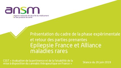 Présentation du cadre de la phase expérimentale et retour des parties prenantes Epilepsie France et Alliance maladies rares