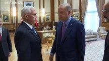 شاهد: بنس يلتقي أردوغان في محاولة أمريكية لوقف العملية العسكرية التركية في سوريا