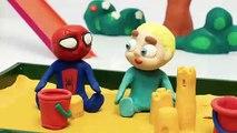 Princesa Elsa  Spiderman y amigos en la caja de arena  Dibujos Animados con Play Doh Stop Motion