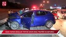 TEM'de kaza uzun araç trafiğine sebep oldu