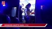 Hemzemin geçitte raybüs treni minibüse çarptı: 1 yaralı
