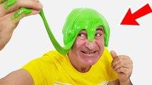 SLİME PRANK! Throwing green giant slime in Kerem's Hair