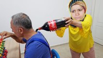 COCA COLA PRANK ! Cold Coca Cola in Kerem's Hair