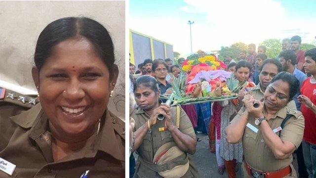 Woman police officer lends a shoulder to her colleague's last journey