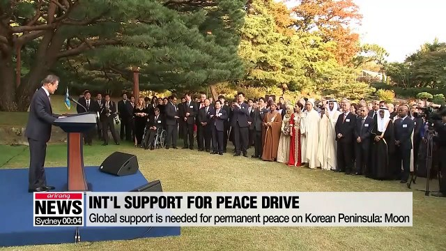 Int'l cooperation required for final step in S. Korea's challenge for peace on Korean Peninsula: Pres. Moon