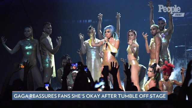 Lady Gaga Falls Off Stage While Hugging Fan During Las Vegas Show — But Assures Fans She's Okay