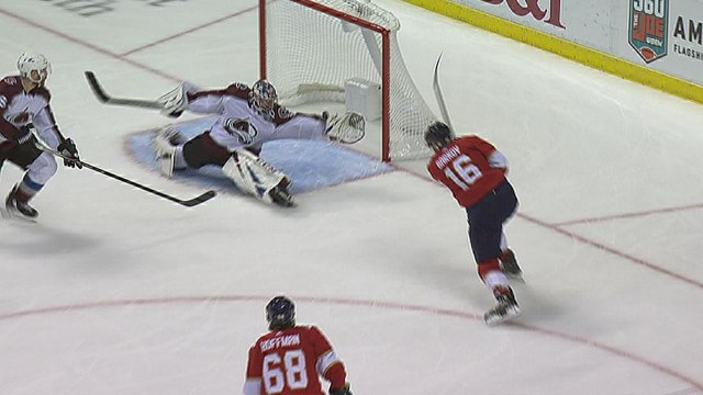 Philipp Grubauer stretches for unbelievable save to rob Barkov