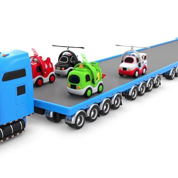 Kids Play Flying Street Vehicles Play On Transport Car Carrier Truck For Babies And Children!