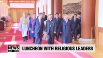 President Moon holds luncheon at Blue House with heads of religious groups