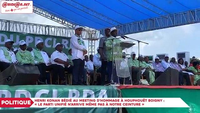 Henri Konan Bédié au meeting en hommage à Houphouët Boigny : «Le parti unifié n'arrive même pas à notre ceinture»