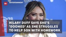 Hilary Duff Deals With Homework